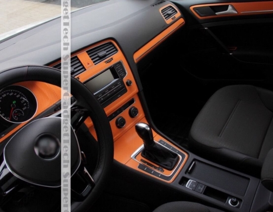 Mittelkonsole Armaturenbrett  3D Carbon Folie Passend Für VW Golf 7 mit Start Stop Orange